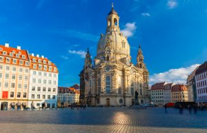 Lutheran church of Our Lady aka Frauenkirche with market place  in the morning in Dresden, Saxony, Germany