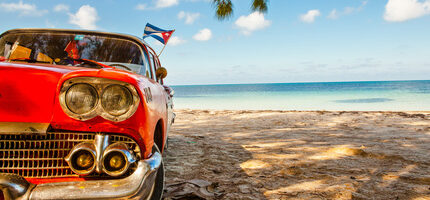 Cayo Jutias, Cuba - December 14, 2016: American classic car on the beach Cayo Jutias, Province Pinar del Rio, Cuba